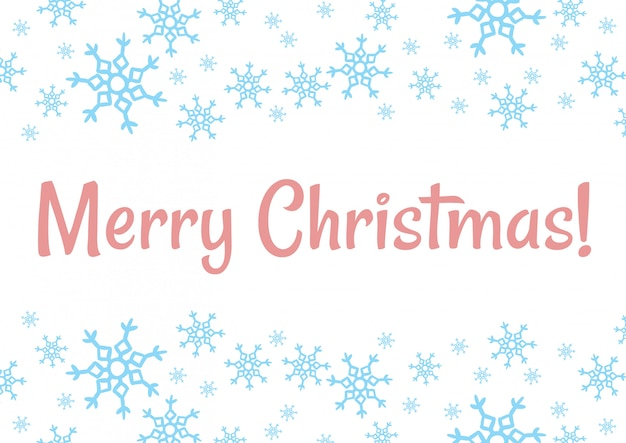 Feliz navidad invierno copos de nieve vector postal de vacaciones
