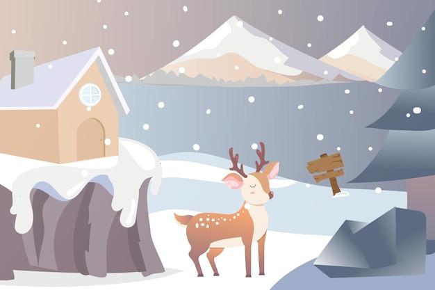 Feliz navidad invierno sobre fondo de montaña
