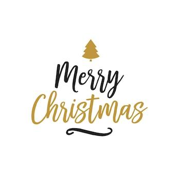 Feliz navidad letras, abeto silueta