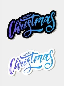 Feliz navidad letras caligrafía pincel texto vacaciones etiqueta oro