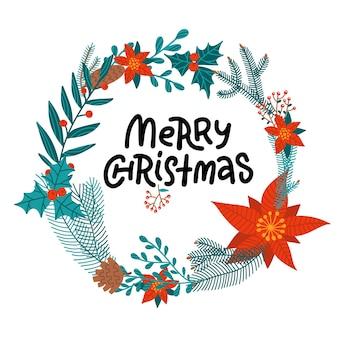 Feliz navidad letras dibujadas a mano en corona floral redonda de poinsettia, ramas de abeto y acebo, conos.