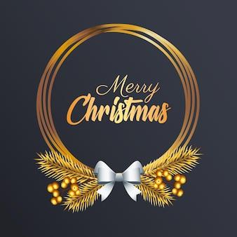 Feliz navidad letras doradas con lazo plateado en la ilustración de marco circular