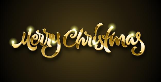 Feliz navidad letras doradas con volumen y destellos brillantes sobre fondo negro