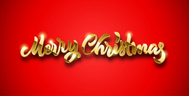 Feliz navidad letras doradas con volumen y destellos brillantes sobre fondo rojo.