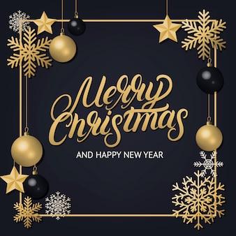 Feliz navidad letras escritas a mano con adornos de decoración dorada.
