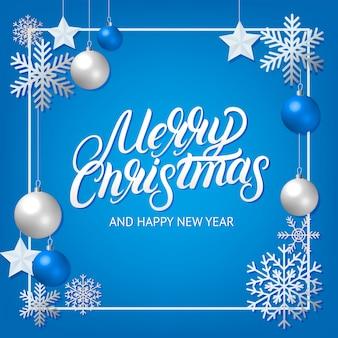 Feliz navidad letras escritas a mano con adornos de decoración de plata.