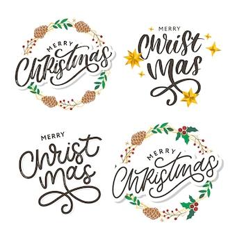 Feliz navidad letras de pincel moderno manuscrita