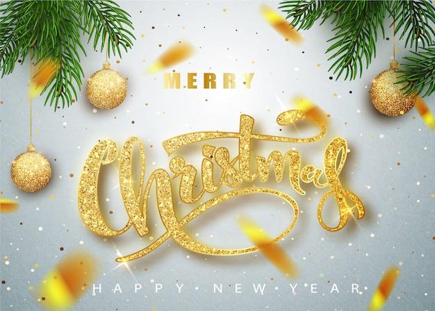 Feliz navidad letras tarjeta de felicitación para vacaciones.