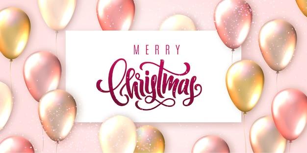 Feliz navidad letras y tarjeta de globos voladores