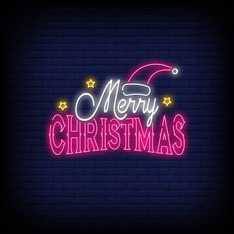Feliz navidad letreros de neón estilo.