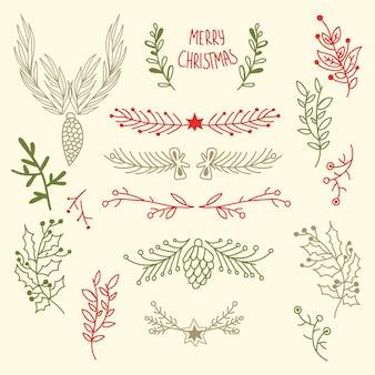 Feliz navidad ligera floral con ramas de árboles naturales y conos en ilustración de estilo dibujado a mano