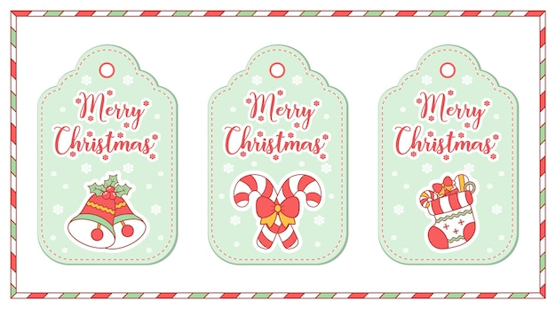 Feliz navidad lindas etiquetas de elementos para colorear tarjeta de dibujo con nieve para la temporada de invierno
