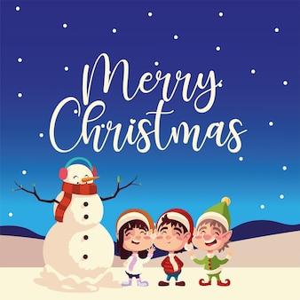 Feliz navidad lindo ayudante muñeco de nieve con niña y niño tarjeta de felicitación ilustración