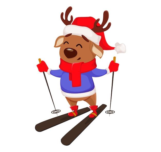 Feliz navidad. lindo ciervo esquiando