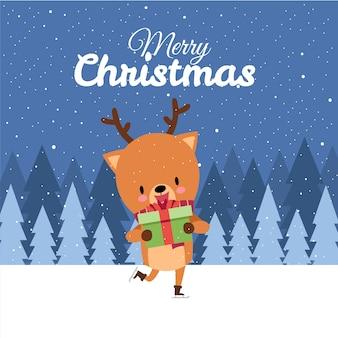 Feliz navidad con lindo ciervo kawaii dibujado a mano con pañuelo rojo patinaje sobre hielo