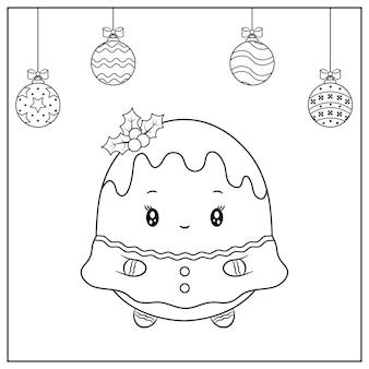 Feliz navidad lindo dibujo de galleta de jengibre con adornos navideños para colorear