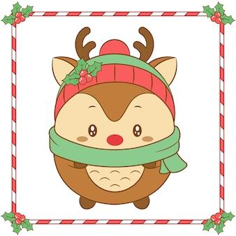Feliz navidad lindo dibujo de renos con sombrero de bayas navideñas y bufanda verde para la temporada de invierno
