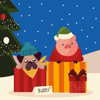 Feliz navidad lindo perro en caja de cerdo con suéter y árbol de regalo en la ilustración de nieve