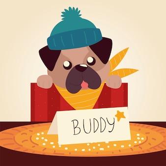 Feliz navidad lindo perro en caja con letras ilustración vectorial