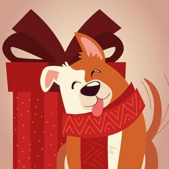 Feliz navidad lindo perro con lengua fuera con ilustración de celebración de regalo