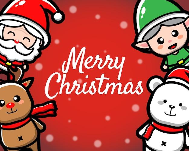 Feliz navidad con lindo personaje de dibujos animados