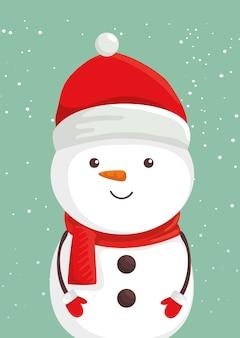 Feliz navidad lindo personaje de muñeco de nieve