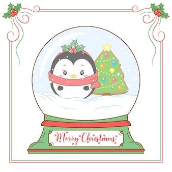 Feliz navidad lindo pingüino dibujo bola de nieve con marco de frutos rojos