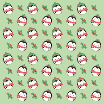 Feliz navidad lindo pingüino dibujo de fondo para envoltura de regalos