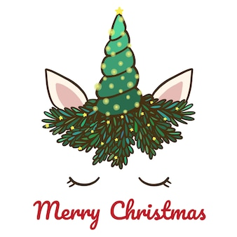 Feliz navidad con lindo unicornio y cuerno.