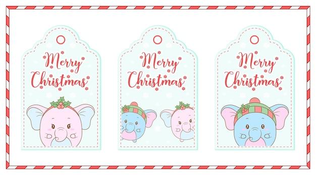 Feliz navidad lindos animales con tarjetas de dibujo de frutos rojos tags