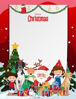 Feliz navidad marco en blanco