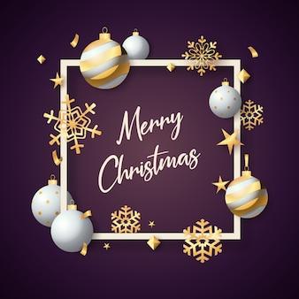Feliz navidad en marco con bolas blancas sobre fondo violeta
