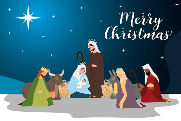 Feliz navidad maría josé bebé jesús reyes sabios y animales pesebre escena ilustración vectorial