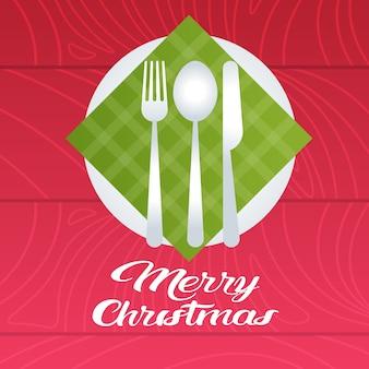 Feliz navidad mesa con plato cuchara tenedor cuchillo decoración navideña plana