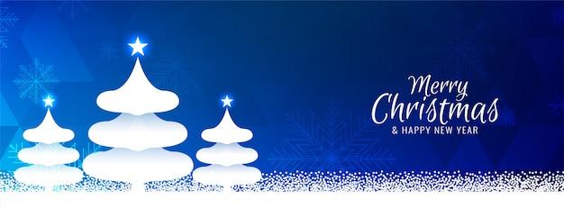 Feliz navidad moderna bandera azul de fondo