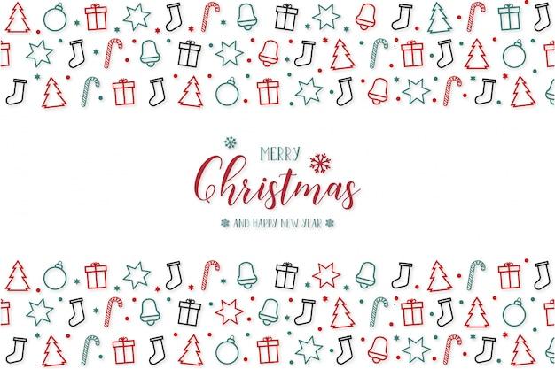 Feliz navidad moderna con iconos de saludo