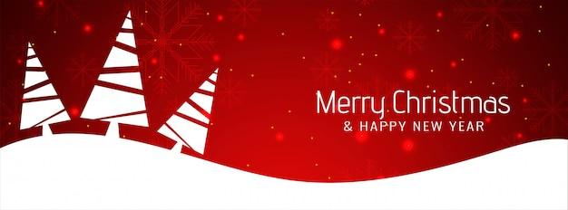 Feliz navidad moderno banner de color rojo
