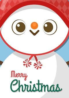 Feliz navidad con muñeco de nieve de dibujos animados.