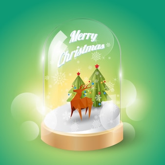 Feliz navidad con navidad bajo poly reindeer en cúpula de cristal, vista isométrica, ilustración vectorial