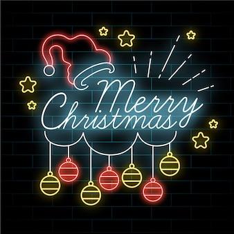 Feliz navidad de neón con bolas de navidad colgantes