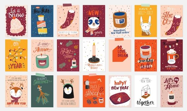 Feliz navidad o feliz año nuevo 2021 ilustración con letras de vacaciones y elementos tradicionales de invierno. plantilla de etiqueta, banner, etiquetas o pegatinas de papel lindo en estilo escandinavo.