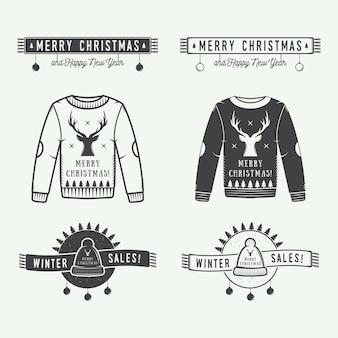 Feliz navidad o logotipo de rebajas de invierno