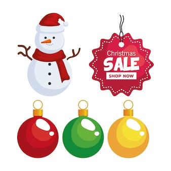 Feliz navidad oferta venta etiqueta muñeco de nieve y diseño de esferas, temporada de invierno y tema de decoración