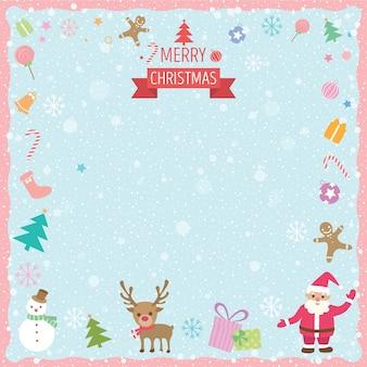 Feliz navidad ornamento frontera