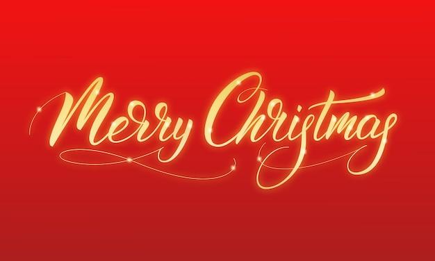 Feliz navidad oro brillante caligrafía feliz navidad