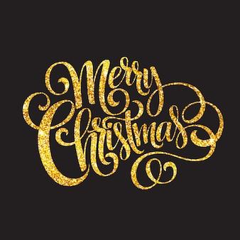 Feliz navidad oro brillante diseño de letras, tarjeta de felicitación