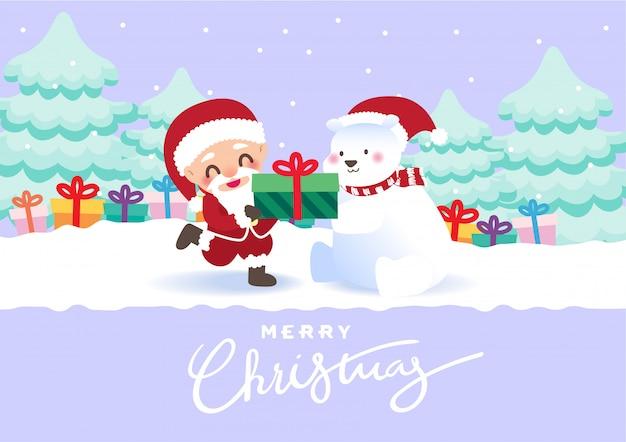 Feliz navidad osos polares regalo ilustración