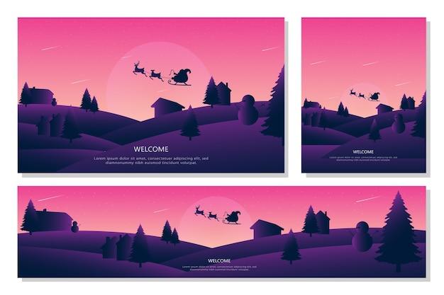 Feliz navidad paisaje conjunto de banners, un estilo de diseño plano. ilustración de fondos