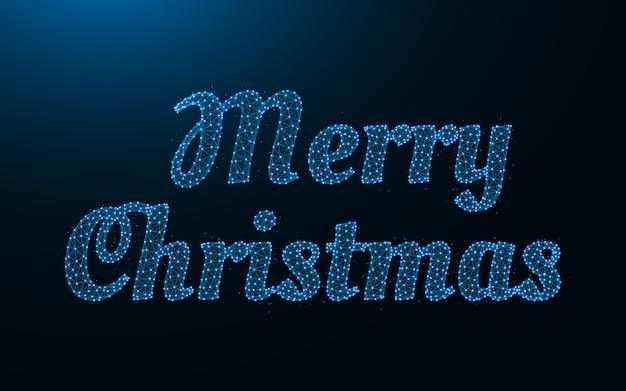 Feliz navidad palabras malla metálica poligonal