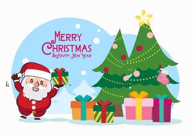 Feliz navidad papá noel dibujo de caja de regalo